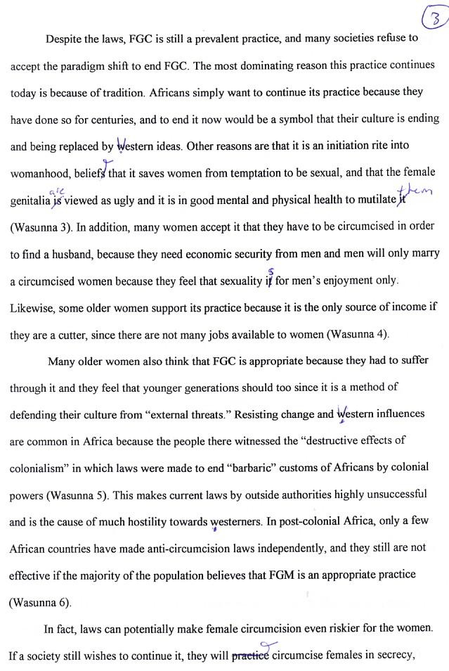 Female genital mutilation essay