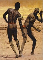 Nuba Wrestlers, photo by Riefenstahl