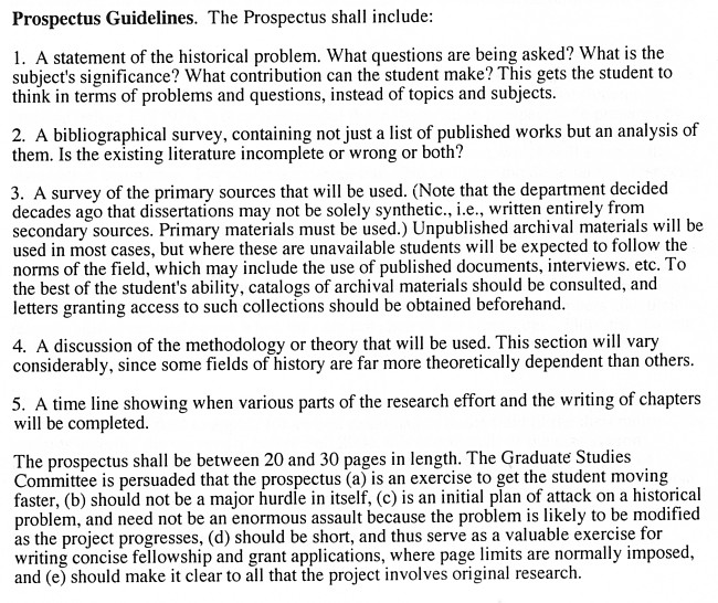 Prospectus for masters thesis