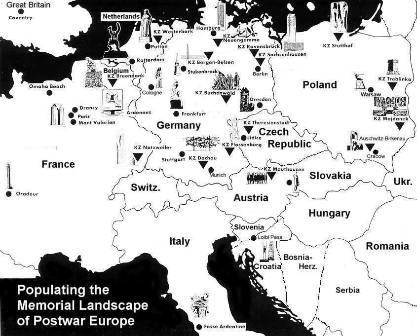 map with icons of concentration camp memorials