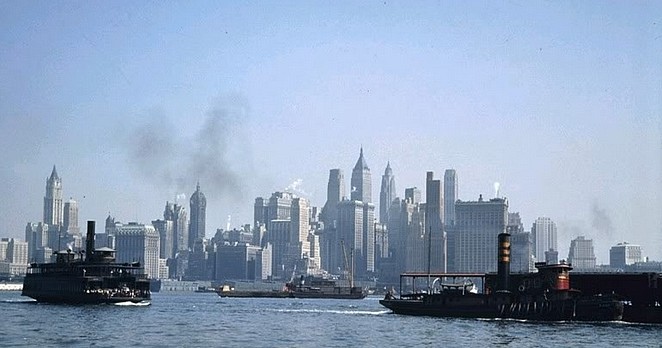 1930s NY skyline color photo