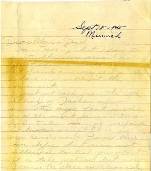 September 1945 letter, page 1