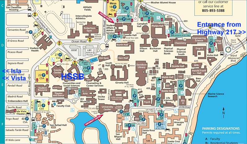 Ucsb Parking Map HSSB: location of building at UCSB Ucsb Parking Map