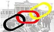 black red gold links over brandenburg gate with kennedy brandt and adenauer