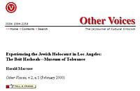 Museum of tolerance essay holocaust denial