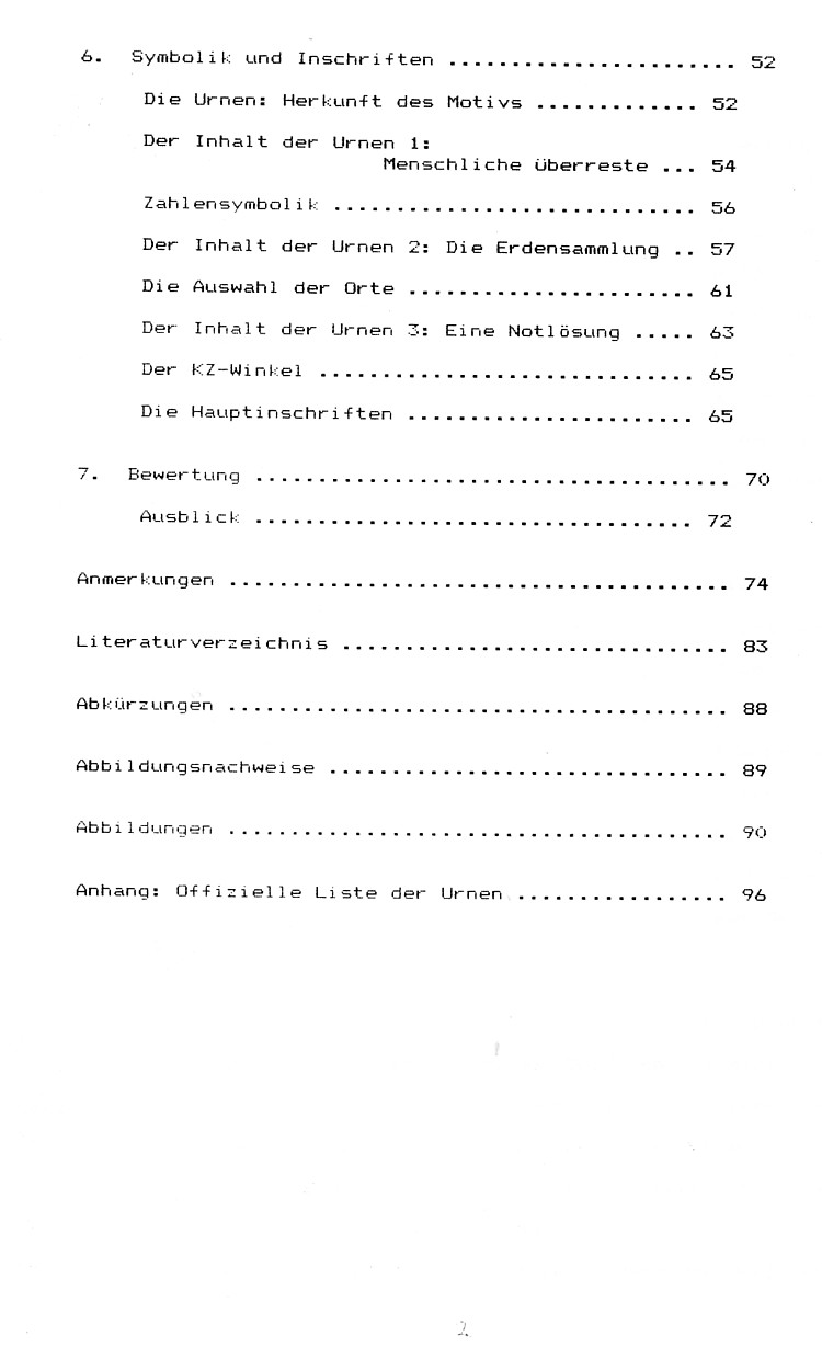 Master thesis contents page